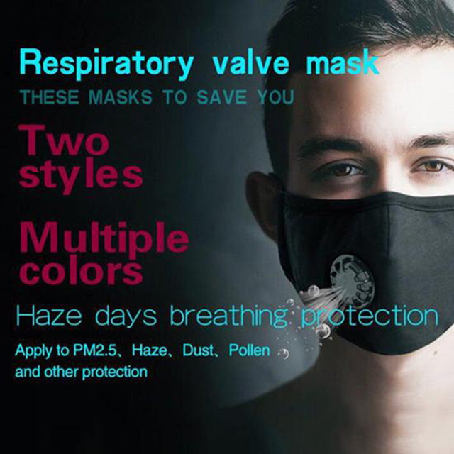 PM2.5 Black mouth Mask anti dust mask Activated carbon filter Windproof Mouth-muffle bacteria proof Flu Face masks Care 2