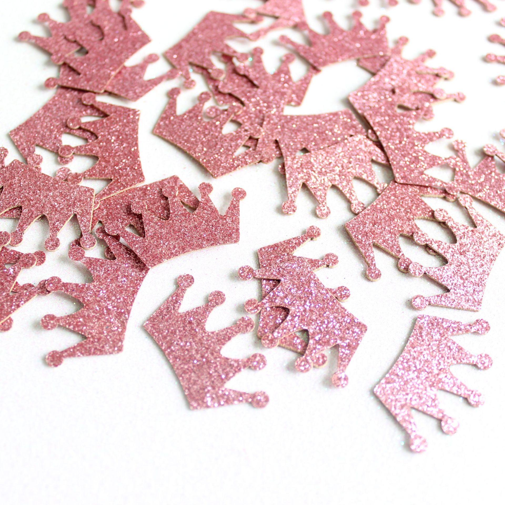 100 pçs ouro rosa coroa glitter confetes aniversário solteiro galinha festa confetes festa de casamento mesa dispersa decoração diy suprimentos