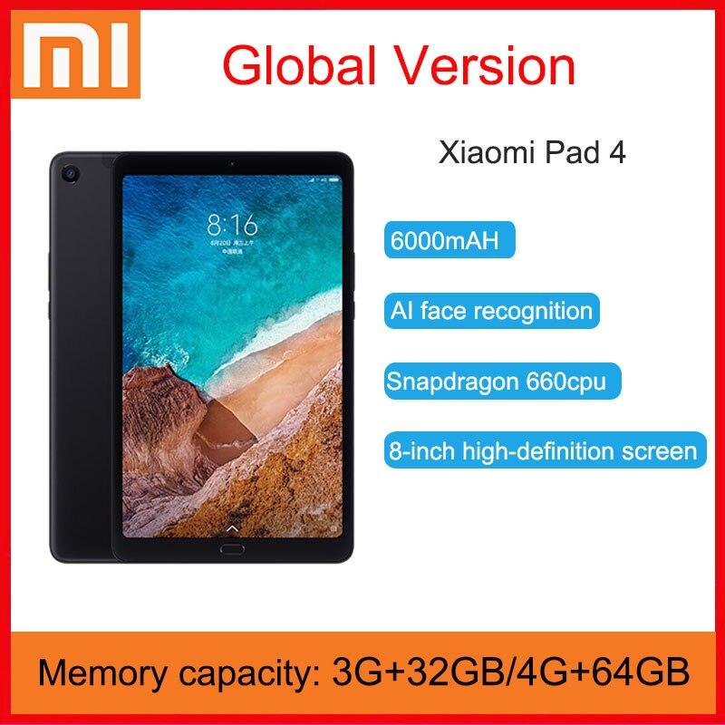 Оригинальный планшет Xiaomi Mi Pad 4, планшеты 8,0 дюймов с процессором Snapdragon 660 AIE, 32 Гб, 64 Гб, экран 16:10, 13 Мп, Bluetooth 5.0, аккумулятор 6000 мАч