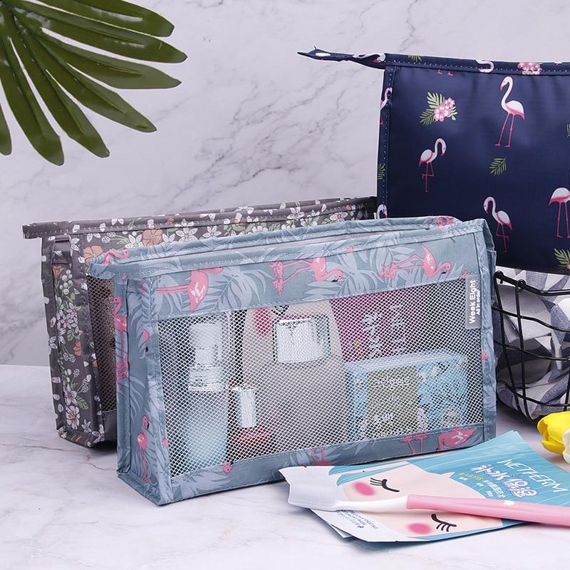 Flamingo Mesh Women Cosmetic Bag Travel Function Makeup Case Zipper Make Up Organizer Storage Pouch Toiletry Beauty Wash Bag