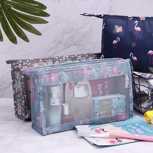 Flamingo Mesh Women Cosmetic Bag Travel