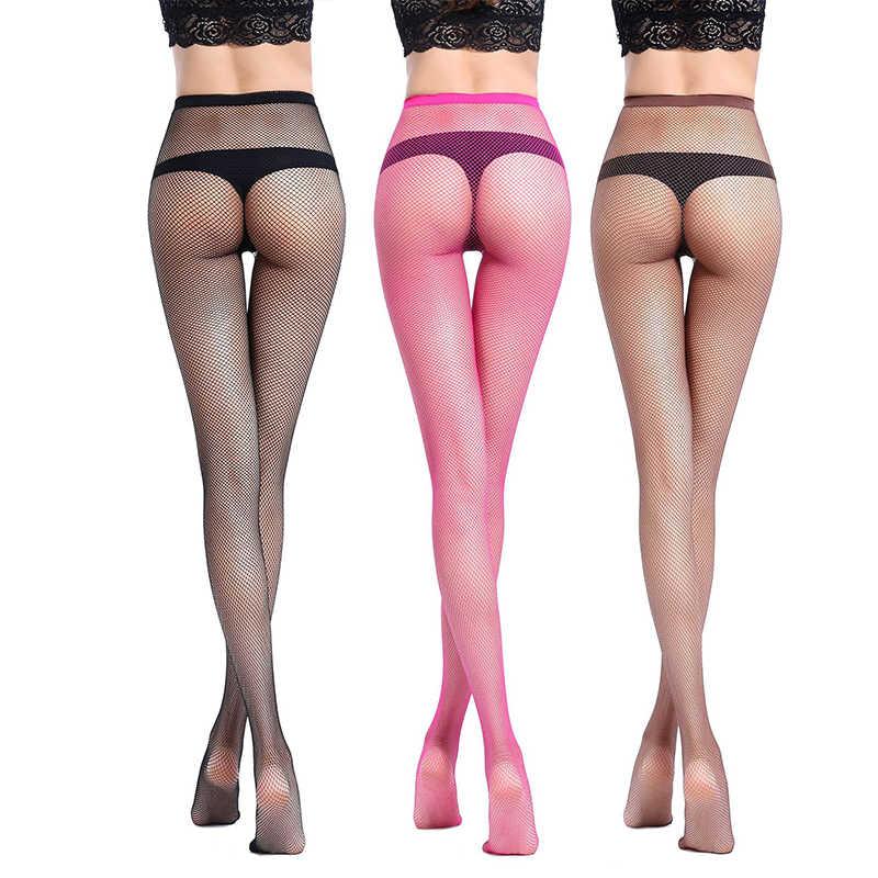 2020 12 bonbons couleurs Transparent évider collants femmes Sexy maille résille Stretch noir bas Club fête bonneterie