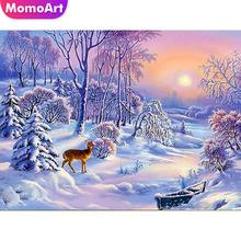 MomoArt Diamond Embroidery Winter Scenic Painting Landscape Mosaic Full Drill Square Home Decoration