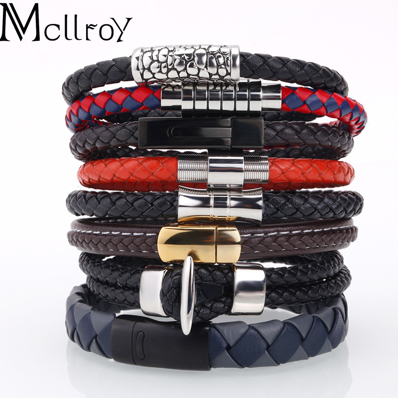men bracelet Genuine leather bracelet/men/women/charm stainless steel gold magnet bracelets & bangles handmade diy jewelry men