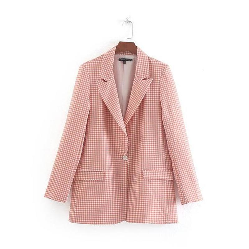 New Blazer Women Autumn New Suit Female Suit Collar Collar Straight Casual Plaid Pants Long Sleeve Women Clothes Blazer Mujer