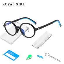 Glasses Frames Blue Round TR90 Ss194 Royal-Girl Light Kids Flexible Silicone Children's