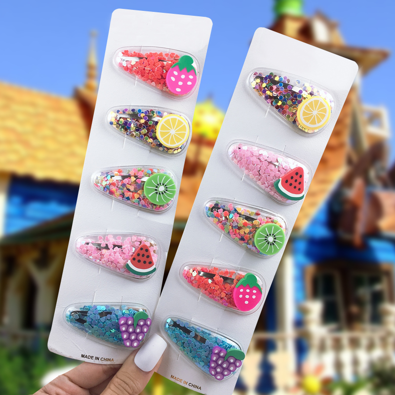 2019 New Baby Girls Fruit Sequin Fruit Hairpin  Shiny Colorful Hair Clips Sweet Headwear Hair Accessories