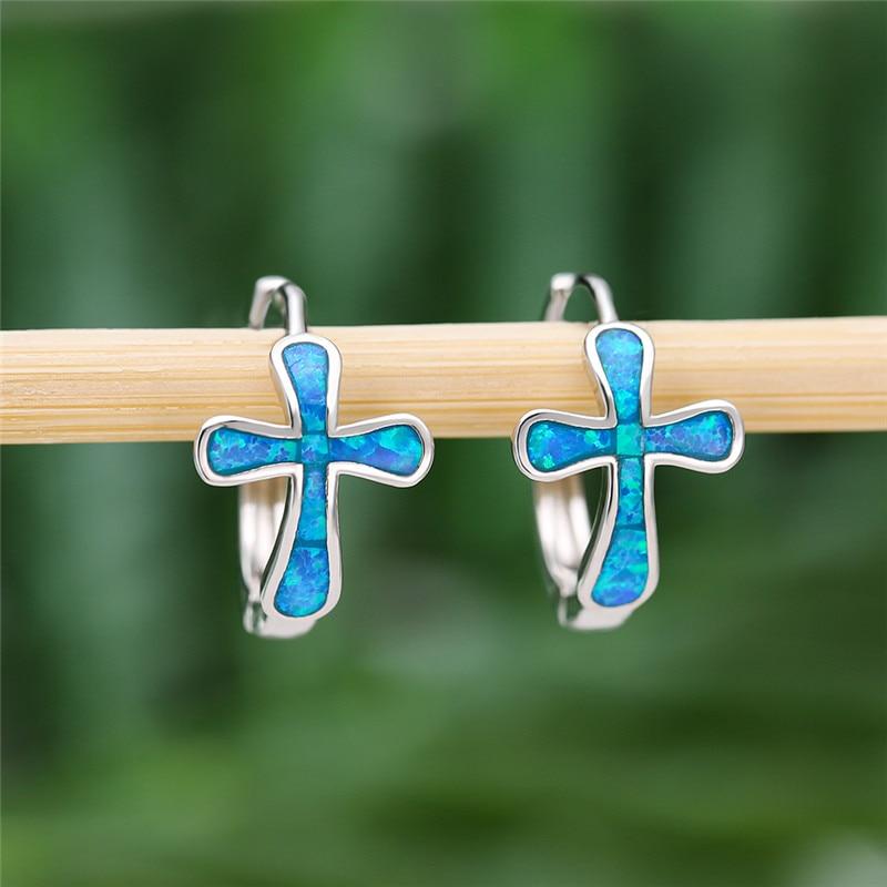 Blue/White Fire Opal Cross Flower Hoop Earrings For Women White Gold Birthstone Engagement Earrings Female Wedding Party Jewelry