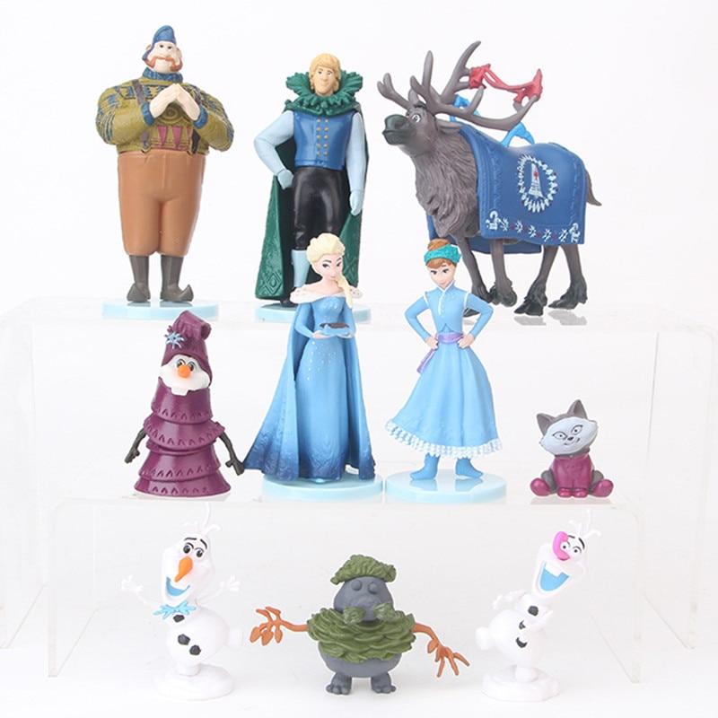 10 Pçs/set Frozen2 Snow Queen Anna Elsa Figuras de Ação Brinquedos Figuras PVC Anime Modelo Toy Presente Coleção de Hans Brinquedos Dos Miúdos Das Crianças