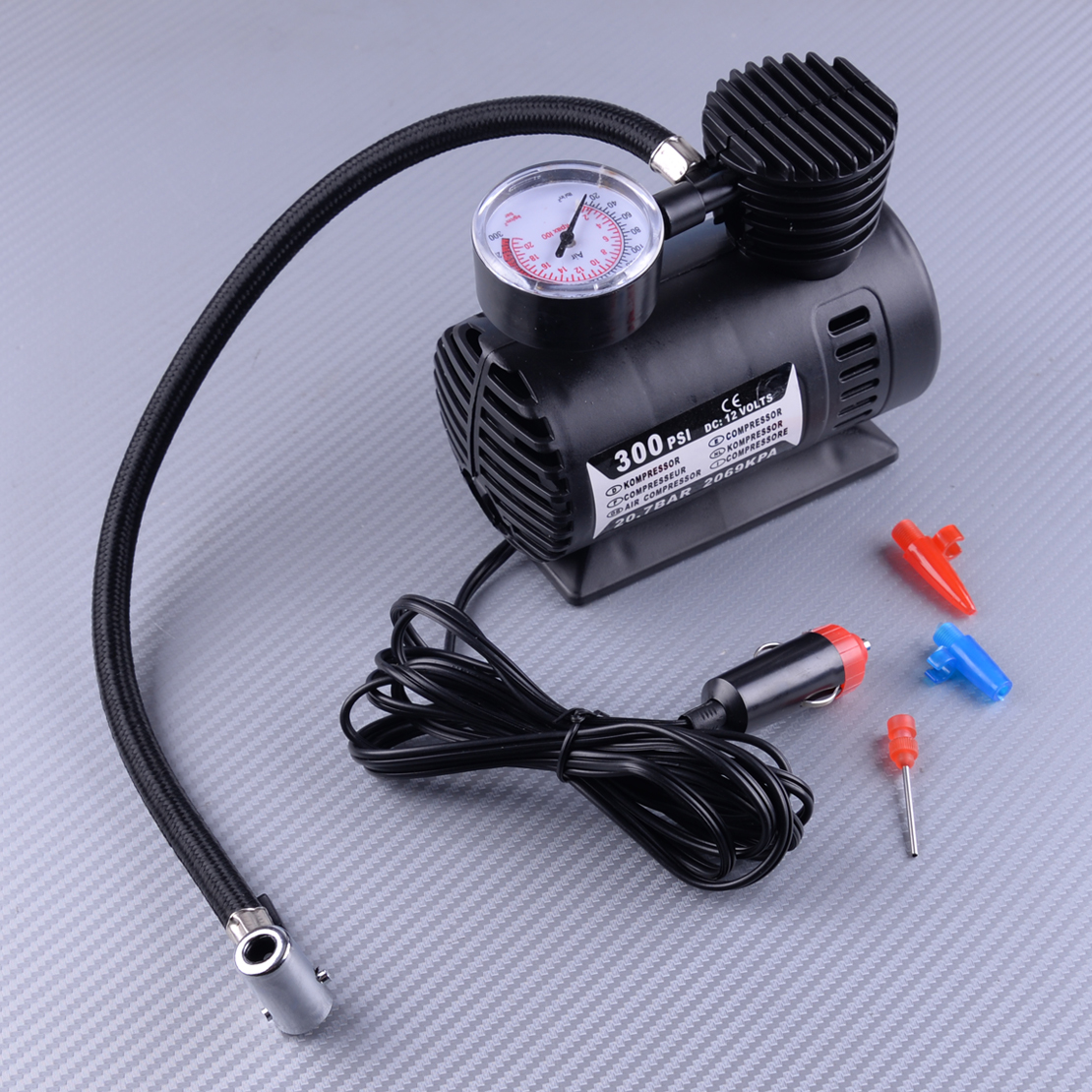 LETAOSK 1Pcs 300PSI 12V Portable Mini Air Compressor Auto Car Electric Tire Air Inflator Pump Tool Black