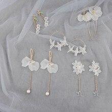 Zovoli Koreaanse Acryl Flower Tassel Dangle Oorbellen Voor Vrouwen 2020 Crystal Kralen Drop Oorbellen Lange Leuke Oorbel Mode-sieraden