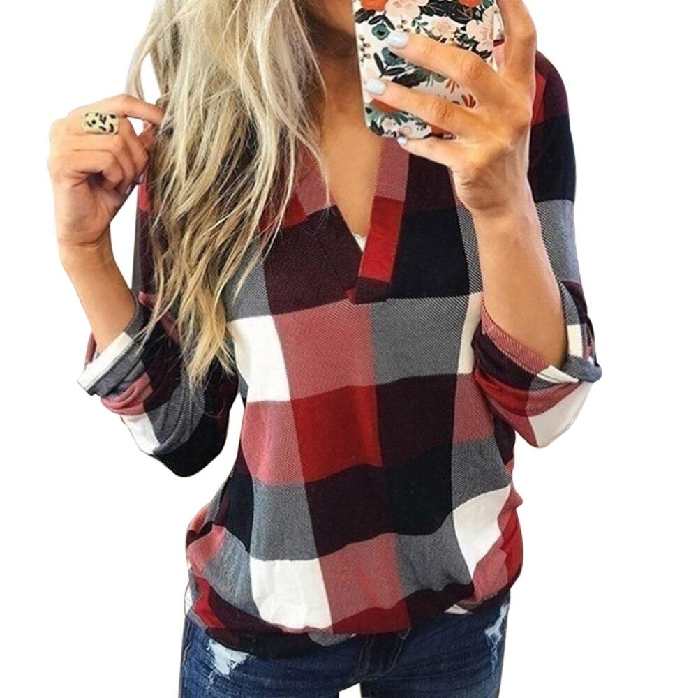 Модная брендовая клетчатая рубашка Laamei, Женская осенне-зимняя блузка с подогревом, женская Свободная блузка с V-образным вырезом, стильные т...