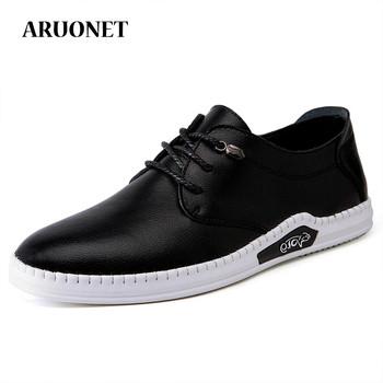 ARUONET Newest Men #8217 s Top Quality Popular Office Shoes Comfort Mens Shoes Genuine Leather Designer Shoes Men Fast Delivery tanie i dobre opinie Skóra Split RUBBER AR03152349 Lace-up Pasuje prawda na wymiar weź swój normalny rozmiar Buty łodzi Stałe Masaż latex