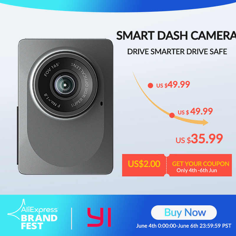 "YI Smart Dash Camera International Version WiFi Night Vision HD 1080P 2.7 ""165 องศาปลอดภัยเตือนกล้อง"