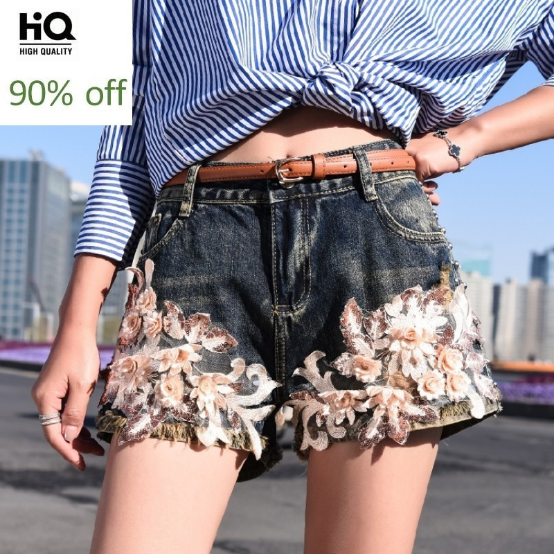 European Summer New Brand Womens Embroidery Floral Rivet Denim Shorts Straight Slim Fashion Frayed Casual Female Denim Shorts