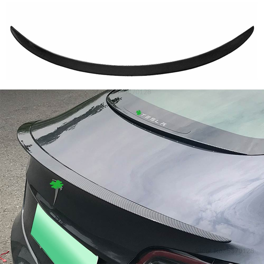 For Tesla Model 3 High Quality Carbon Fiber Spoiler 2017 2018 2019 2020 Rear Trunk Lip Spoiler Wing Decoration Car Styling 1pcs Spoilers & Wings     - title=