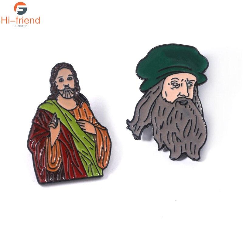 Celebrity Portrait Da Vinci Brooches Color Enamel Pins Lapel Cartoon Souvenir For Man Woman Jewelry