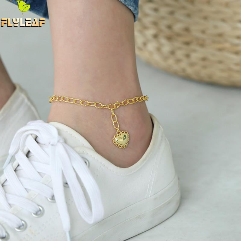 925 Sterling Silver Lace Gold Heart Anklets For Women Retro Style Lady Luxury Fine Vintage Jewelry Flyleaf