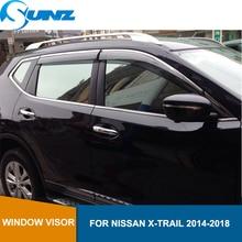 цена на Smoke Car Side Window Deflectors For NISSAN X-TRAIL t32 2014 2015 2016 2017 2018 Sun Shade Awnings Shelters Guards SUNZ
