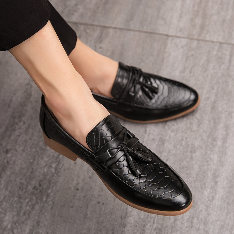 Men Leather Loafers Retro Tassel Lozenge Pattern Shoes Slip On Comfortable Casual Male's Flat Footwear Club Shoes Big Size 47 4