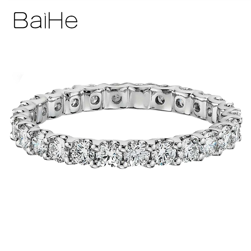 BAIHE Solid 18K White Gold Total 0.93ct(0.03/0.04CT) H/SI Round Natural Diamonds Wedding Women Trendy Fine Jewely Beautiful Ring