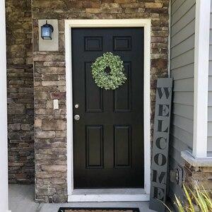 Image 2 - מלאכותי ירוק עלים זר 17.5 אינץ מול דלת זר פגז דשא תאשור זר קיר חלון המפלגה דקור