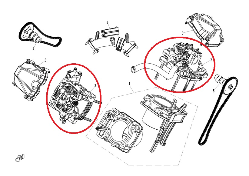 FRONT AND REAR CYLINDER COVER ASSY/FIT FOR CF800 CFX8