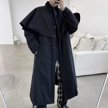 Trendline oryginalny długi styl trencz osobowość Cape pokaz mody moda moda moda moda modny płaszcz mężczyzn tanie i dobre opinie IKKB CN (pochodzenie) Pełna REGULAR Z wełny Wełna mieszanki Stałe Skręcić w dół kołnierz