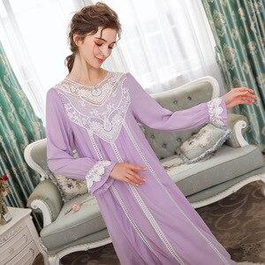 Image 2 - Princess Style Cotton Night Dress Women Sleepwear Lace Palace Vintage Nightgowns Solid Teenage Girl Sleeping Dress Long Nighty