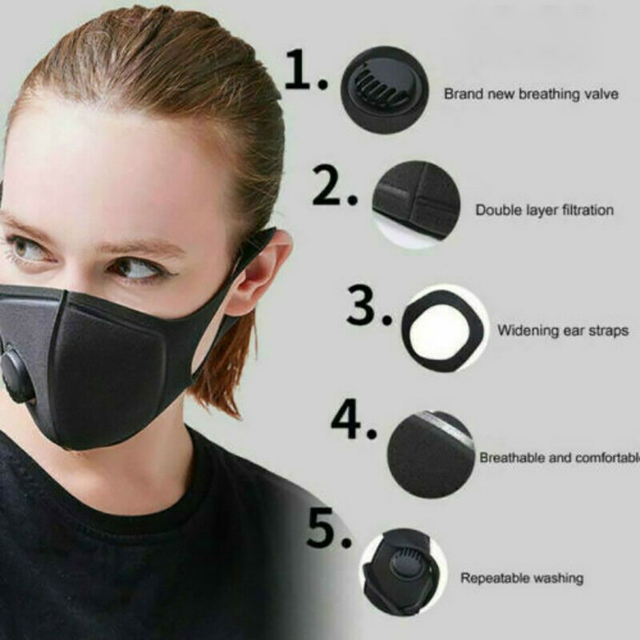 New Kpop Cotton Black Gray Pink Valve Mask Mouth Face Masks Anti PM2.5 Dust Maske Washable Reusable Mouth Cover PM2.5 Filter 5