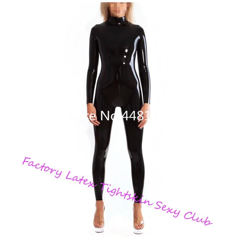 Sexy noir Latex Catsuit caoutchouc Zentai costume cou entrée en caoutchouc body avec entrejambe Zip haute qualité femmes chat-costume