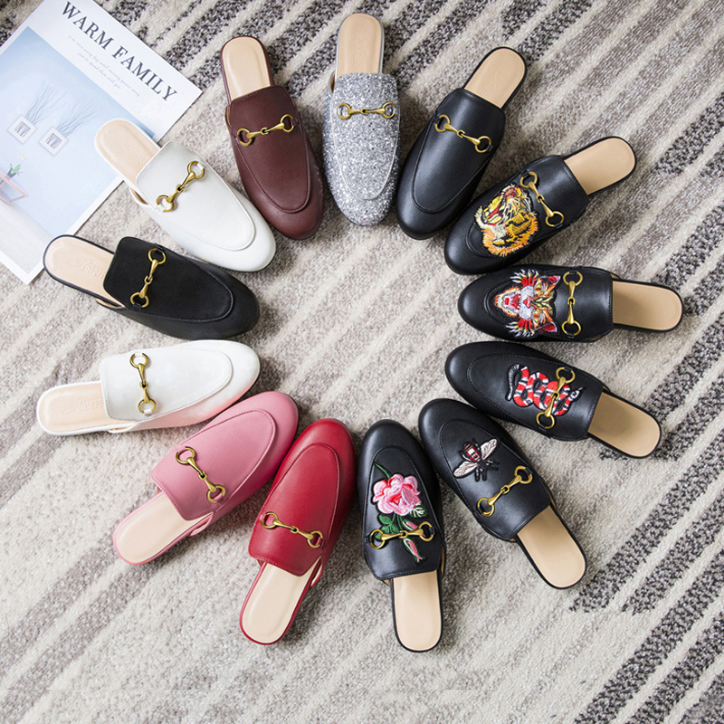 Leather Muller Shoes Female 2020 Spring and Summer New Slippers Female Outer Wear Loafers Flat Baotou Half Sandals and Slippers