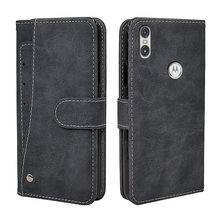Funda Vintage de lujo para Motorola One Power Moto G7 Z3 Play P30 Note Case, funda abatible de cuero de negocios con cartera de silicona de TPU(China)