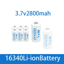 Baterias recarregáveis 3.7v cr123 do li-íon 2800 da bateria cr123a do lítio 16340 v 3.7 mah para a pilha conduzida da lanterna da pena do laser