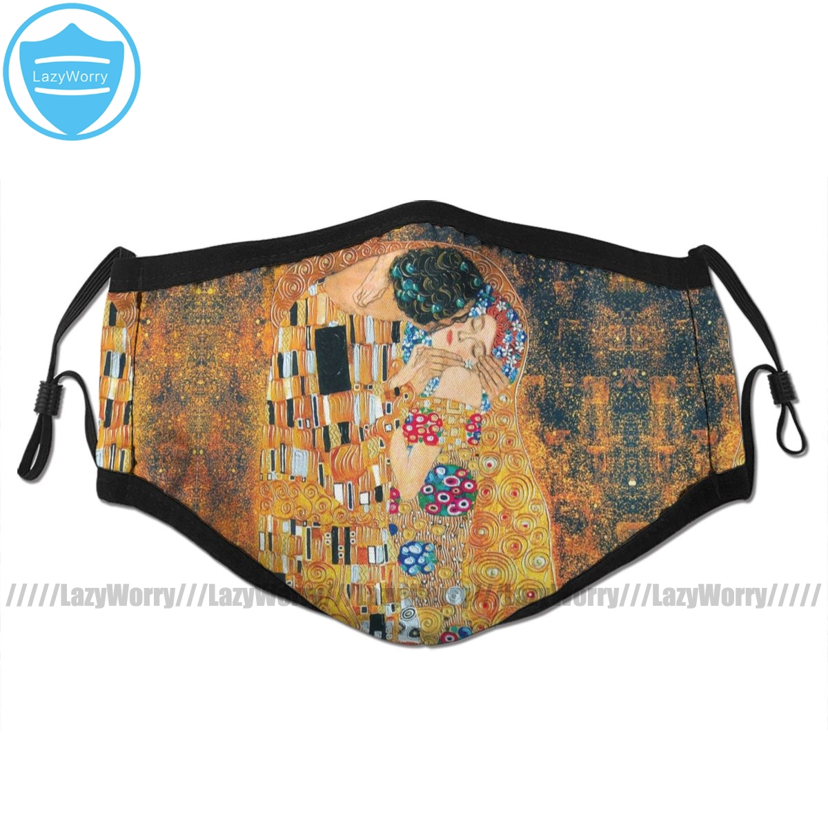 Klimt Mouth Face Mask Gustav Klimt The Kiss Facial Mask Fashion Funny With 2 Filters For Adult
