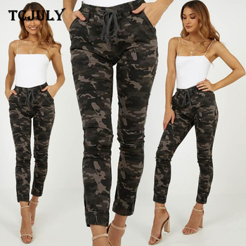 TCJULY New Streetwear Slim Camo Pants With Pockets High Waist Drawstring Casual Trousers Women Skinny Push Up Ankle Length Pants