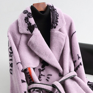 Image 4 - Elegant Winter Long Woolen Warm Real Fur Plus Size Coat Printing Thick Turn down Collar Slim Jackets High Quality Lilac Outwear