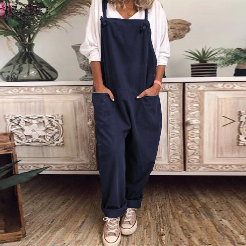 2020 Vintage Suspender Rompers Womens Jumpsuit ZANZEA Female Sleeveless Wide Legs Jumpsuits Solid Pockets Overalls Long Playsuit