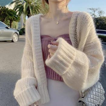 Зимний вязаный Однотонный свитер большого размера Женская одежда 2020 хаки бежевый розовый оверсайз кардиганы свободные женские пальто повседневная мода