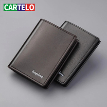 CARTELO Genuine Leather Men's Short Wallets Credit Card Holder Luxury Retro brand Slim Solid Purses Business purses male