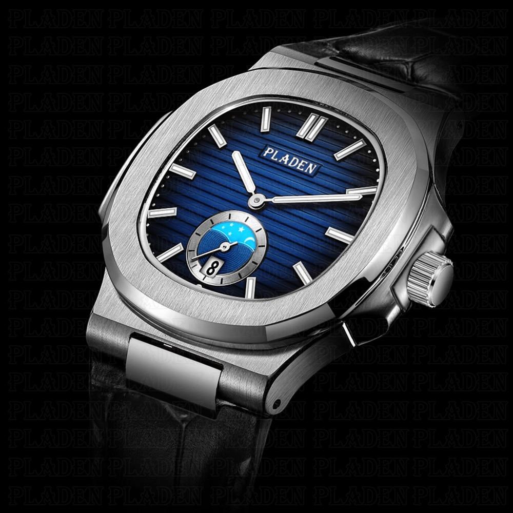 PLADEN наручные часы с хронографом, мужские водонепроницаемые кварцевые часы с датой, мужские кожаные роскошные Брендовые мужские часы