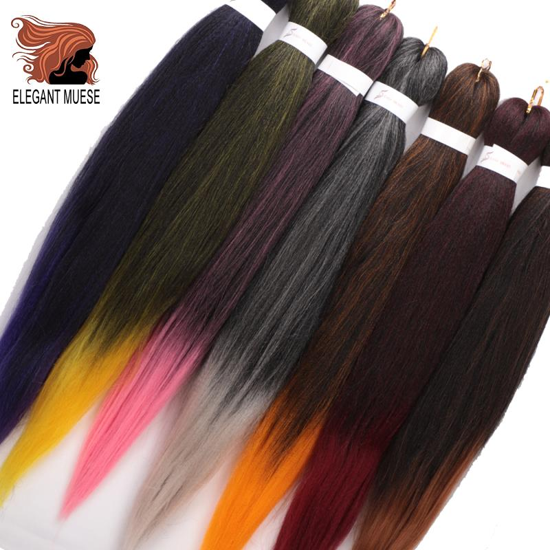 ELEGANT MUSES Synthetic Crochet Hair 8 Pcs Long Easy Jumbo Braids Hair Ombre Braiding Hair Extension Low Temperature Fiber