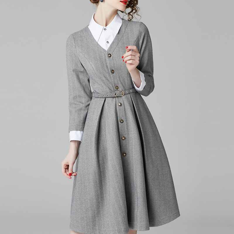 Europe And America Autumn And Winter New Style French Retro Stripes Shirt Dress Big Hemline Pleated Skirt Medium-length Woolen D