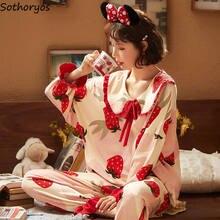Conjuntos de pijama con estampado de dibujos animados para mujer, ropa de dormir de princesa, cuello Peter-pan, estilo coreano, para chicas dulces, para el hogar, Kawaii, ocio, suave, diario