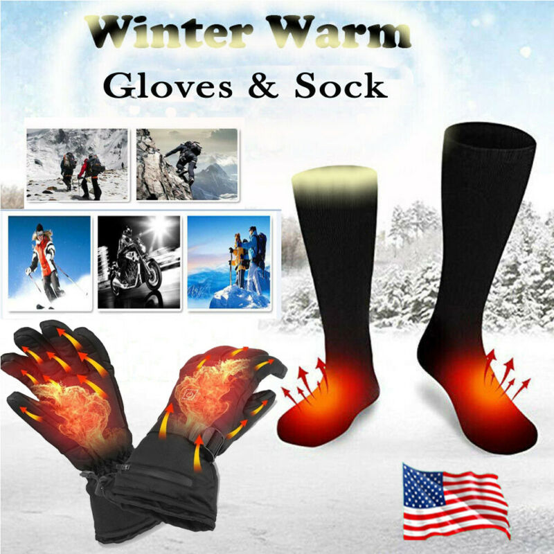 Electric Rechargeable Powered Warm Heated Socks Gloves Winter Motorcycle Biker Cold Protection Hand Foot Warm Sock Gloves Braces