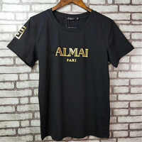 Summer New Women T shirt gold buckle hot stamping gold Letter short sleeved 100%cotton t shirt  Fashion Classic Brand Ladies top