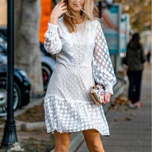 Image 2 - Conmoto エレガントホワイトパーティードレス女性秋冬ショートヴィンテージポルカドットプリントレースプラスサイズドレス女性 vestidos