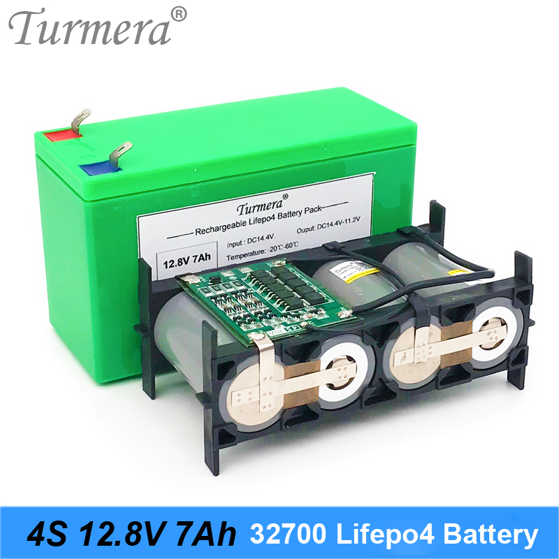 Turmera <font><b>32700</b></font> Lifepo4 <font><b>Battery</b></font> <font><b>Pack</b></font> 4S1P 12.8V 7Ah with 4S 40A Balanced BMS for Electric Boat and Uninterrupted Power Supply 12V image