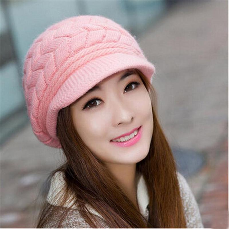 Women's Hats Winter Warm Knitted Hat Rabbit Hair Double Layer Plus Velvet Cap Visor Beanies For Women Casual Gorras