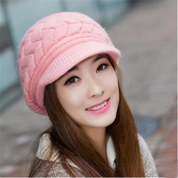 Women's Hats Winter Warm Knitted Hat Rabbit Hair Double Layer Plus Velvet Cap Visor Beanies For Women Casual gorras